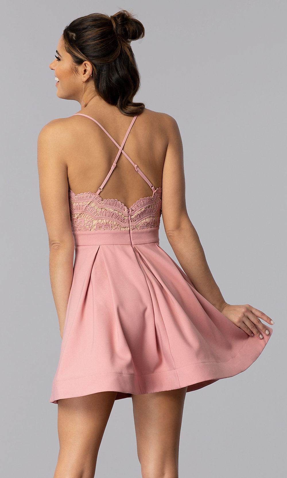 Short Chiffon Party Dress with Lace Bodice - PromGirl
