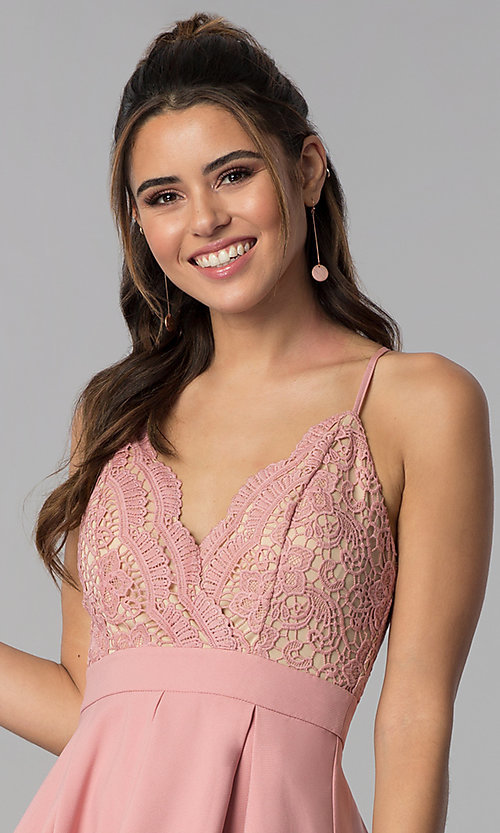 Image of a-line lace-bodice homecoming dress by PromGirl. Style: LUX-PL-LD5026 Detail Image 1