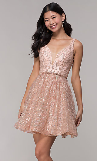 Short Glitter V-Neck Homecoming Dress by Tiffany