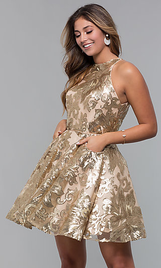 Sequin Mesh Short Homecoming Dress