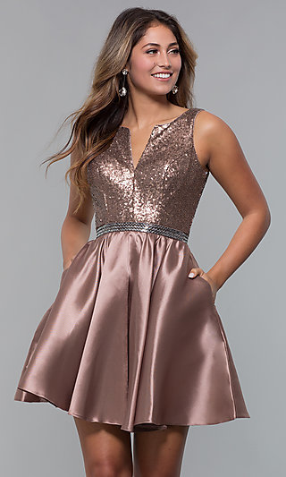 Sequin Bodice Short Homecoming Dress
