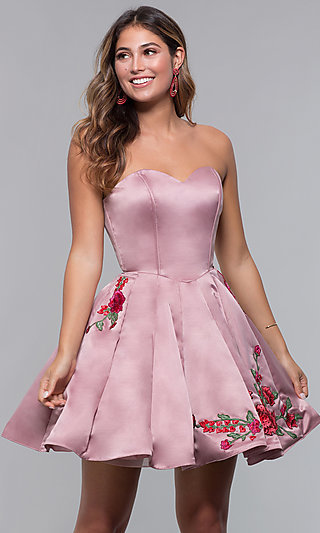 Strapless Short Sweetheart Homecoming Dress