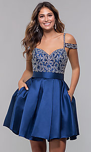 Image of sweetheart cold-shoulder satin homecoming dress. Style: HOW-DA-52430 Front Image