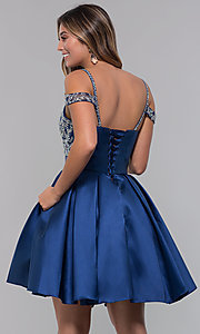 Image of sweetheart cold-shoulder satin homecoming dress. Style: HOW-DA-52430 Back Image