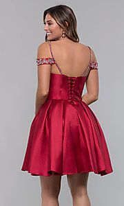 Image of sweetheart cold-shoulder satin homecoming dress. Style: HOW-DA-52430 Detail Image 5