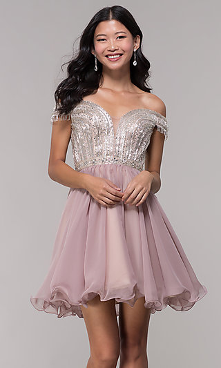 Off-the-Shoulder Homecoming Dress with a Sheer-Back