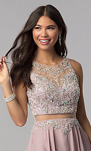 Image of short mock-two-piece homecoming dress by PromGirl. Style: DQ-PL-3052 Detail Image 1