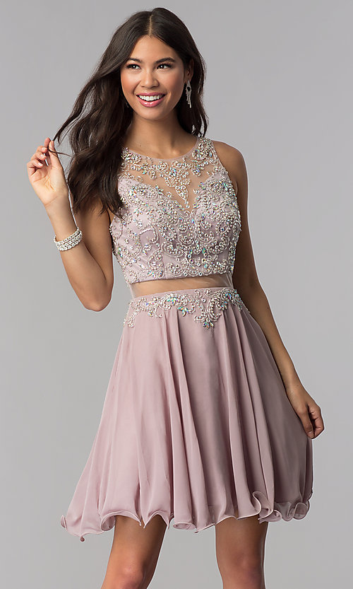 Image of short mock-two-piece homecoming dress by PromGirl. Style: DQ-PL-3052 Front Image