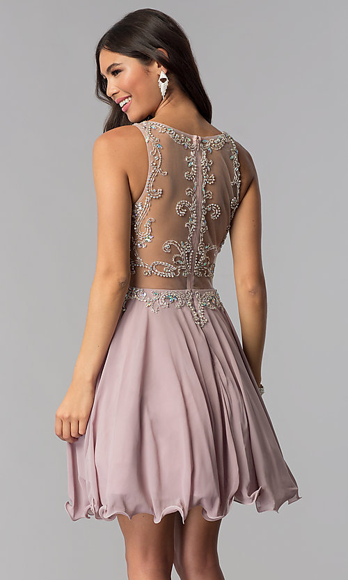 a374876c068 Image of short mock-two-piece homecoming dress by PromGirl. Style  DQ