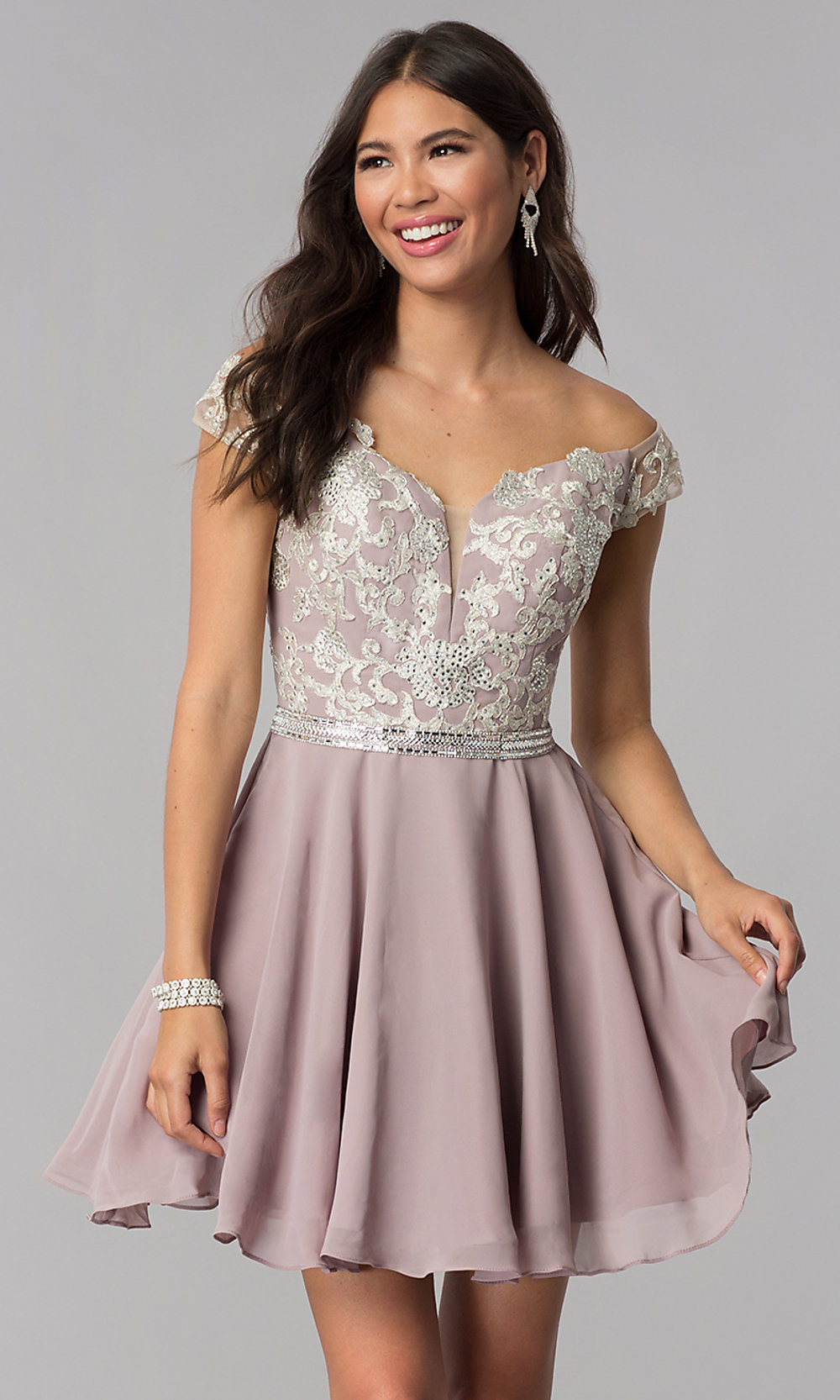 Chiffon Off,Shoulder Homecoming Dress by PromGirl