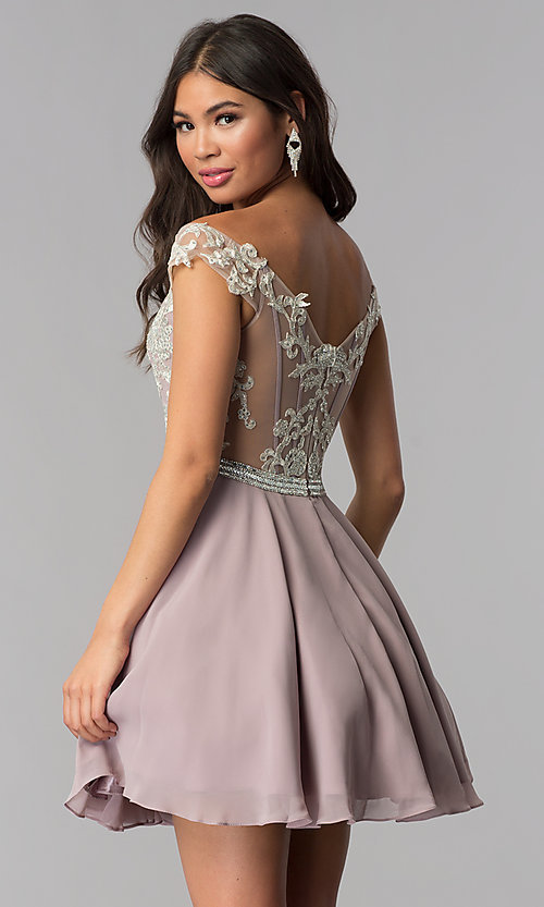 Image of chiffon off-shoulder homecoming dress by PromGirl. Style: DQ-PL-3053 Back Image