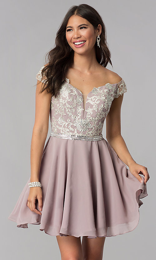Image of chiffon off-shoulder homecoming dress by PromGirl. Style: DQ-PL-3053 Front Image