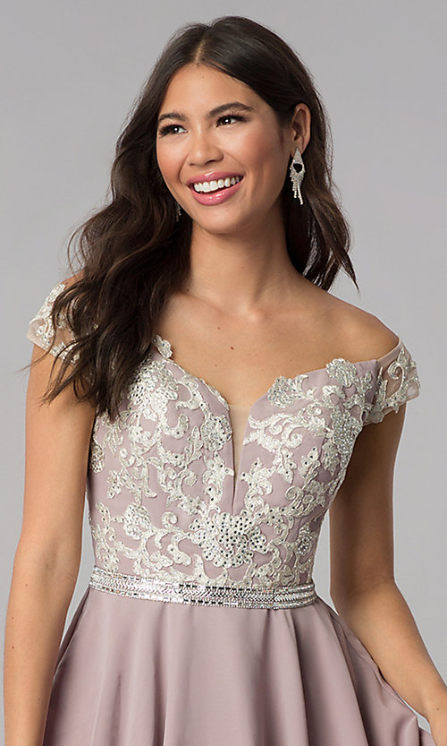 Image of chiffon off-shoulder homecoming dress by PromGirl. Style: DQ-PL-3053 Detail Image 1