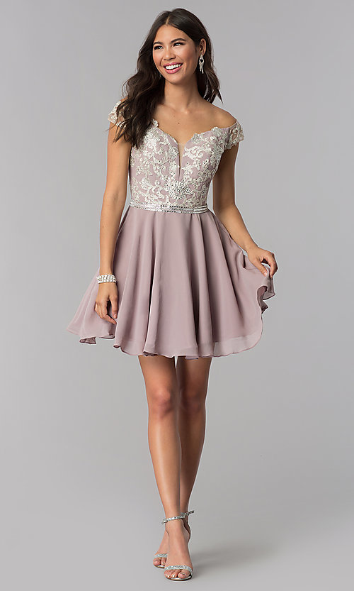 Image of chiffon off-shoulder homecoming dress by PromGirl. Style: DQ-PL-3053 Detail Image 3