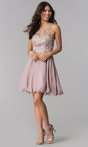Image of chiffon short homecoming dress by PromGirl. Style: DQ-PL-3054 Detail Image 3