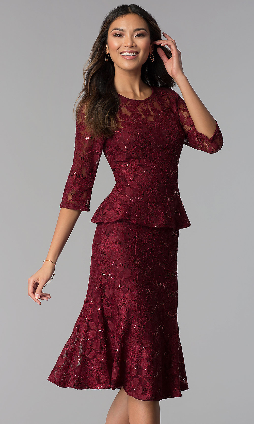 c74157adf6 Lace MOB Two-Piece 3 4-Sleeve Party Dress - PromGirl