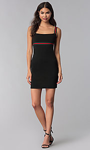 Image of black short party dress with striped straps. Style: CH-3085 Detail Image 3