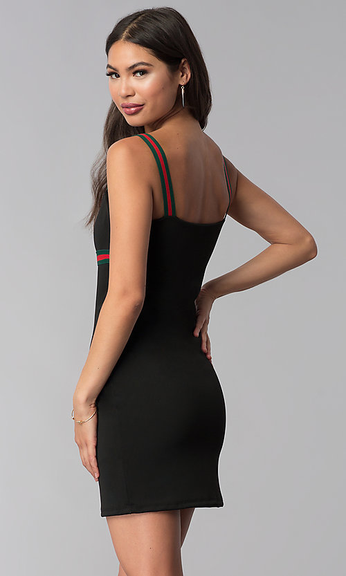 Image of black short party dress with striped straps. Style: CH-3085 Back Image