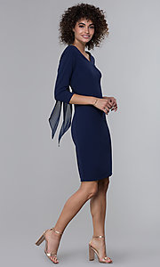 Image of sleeved short wedding guest dress in navy blue.  Style: JU-MA-261837 Detail Image 3