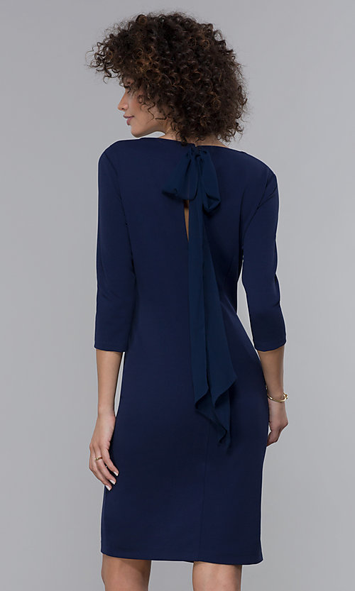 Image of sleeved short wedding guest dress in navy blue.  Style: JU-MA-261837 Back Image