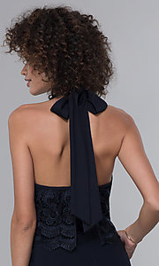 Image of halter-style navy blue jumpsuit for wedding guests. Style: JU-MA-261315a Detail Image 2