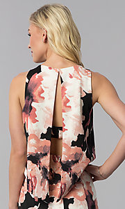 Image of floral-print popover knee-length wedding guest dress. Style: JU-MA-261230 Detail Image 2