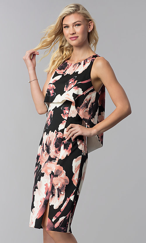 Image of floral-print popover knee-length wedding guest dress. Style: JU-MA-261230 Front Image
