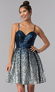 Image of short a-line sequin homecoming dress. Style: TE-T3028 Front Image