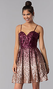 Image of short a-line sequin homecoming dress. Style: TE-T3028 Detail Image 3