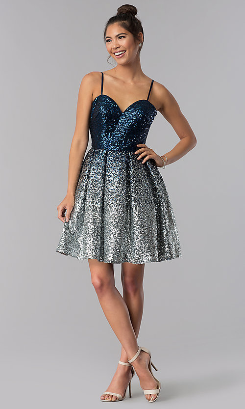 Image of short a-line sequin homecoming dress. Style: TE-T3028 Detail Image 2