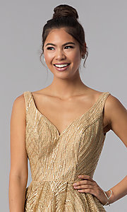 Image of gold short sequin-embroidered homecoming dress. Style: TE-3044 Detail Image 1