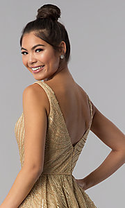 Image of gold short sequin-embroidered homecoming dress. Style: TE-3044 Detail Image 2