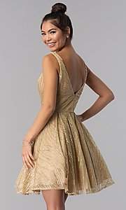 Image of gold short sequin-embroidered homecoming dress. Style: TE-3044 Back Image