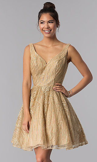 Gold Short Sequin-Embroidered Homecoming Dress