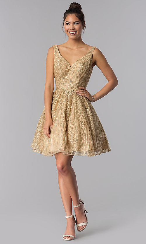 Image of gold short sequin-embroidered homecoming dress. Style: TE-3044 Detail Image 3