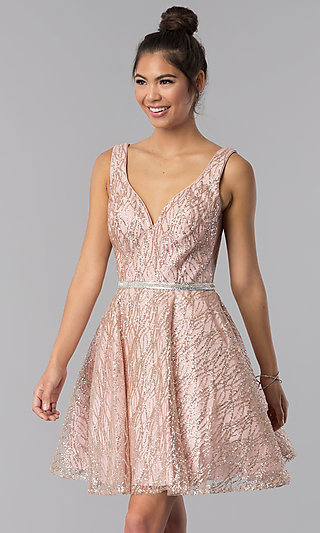 Beaded-Waist Glitter Short V-Neck Homecoming Dress