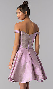 Image of pink short off-shoulder glitter homecoming dress. Style: TE-3058 Back Image