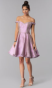 Image of pink short off-shoulder glitter homecoming dress. Style: TE-3058 Detail Image 2