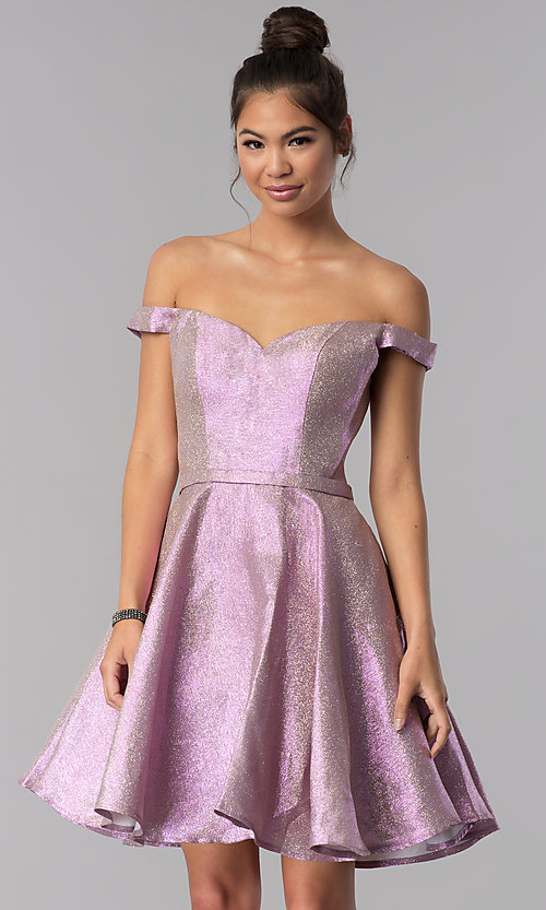 Image of pink short off-shoulder glitter homecoming dress. Style: TE-3058 Detail Image 1