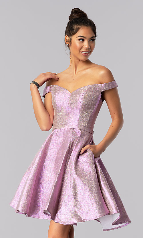 Image of pink short off-shoulder glitter homecoming dress. Style: TE-3058 Front Image