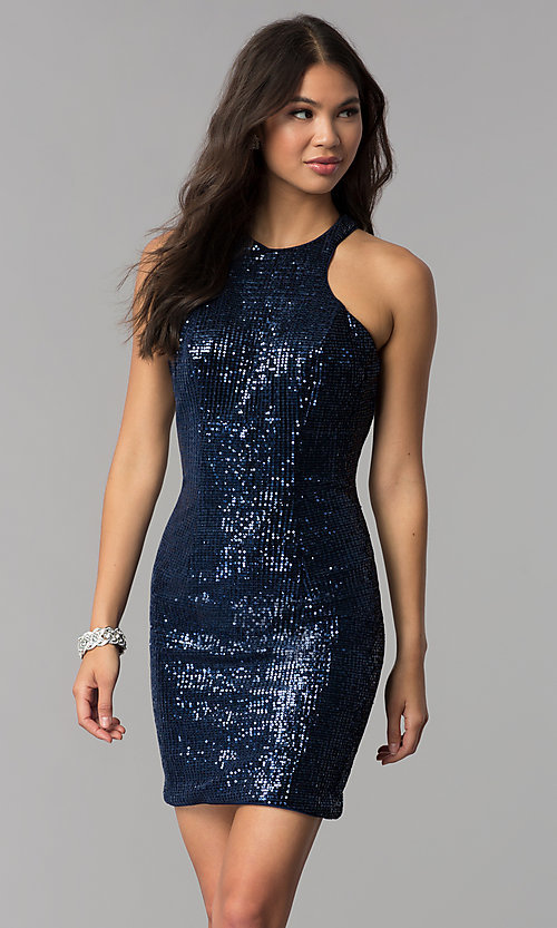 Image of short navy blue high-neck sequin homecoming dress. Style: TE-3038 Front Image