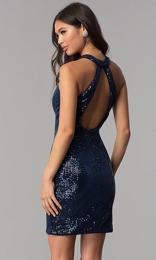 057e276268 Image of short navy blue high-neck sequin homecoming dress. Style  TE-