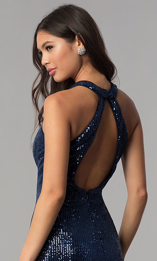 Image of short navy blue high-neck sequin homecoming dress. Style: TE-3038 Detail Image 2
