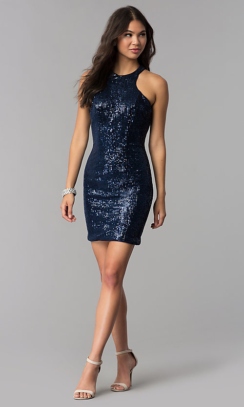 Image of short navy blue high-neck sequin homecoming dress. Style: TE-3038 Detail Image 3