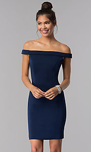 Image of off-the-shoulder short sheath homecoming dress. Style: TE-T3106 Front Image