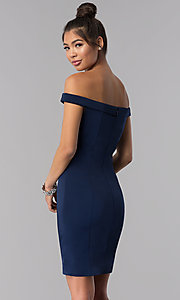 Image of off-the-shoulder short sheath homecoming dress. Style: TE-T3106 Back Image