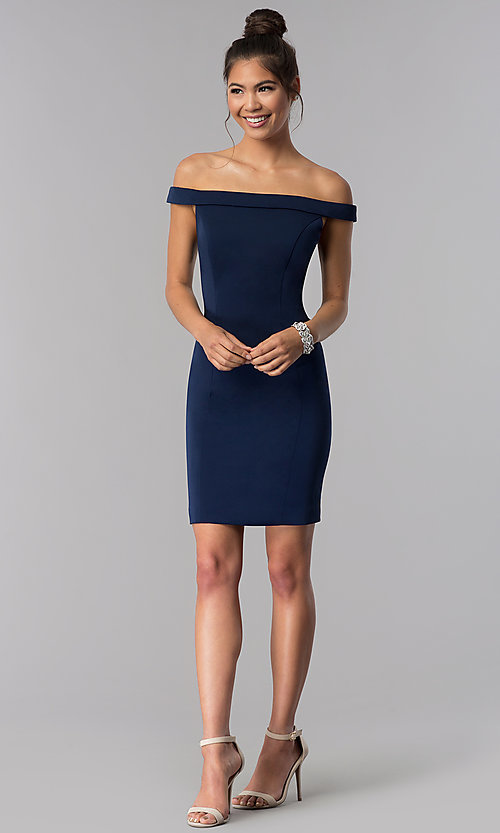 Image of off-the-shoulder short sheath homecoming dress. Style: TE-T3106 Detail Image 2