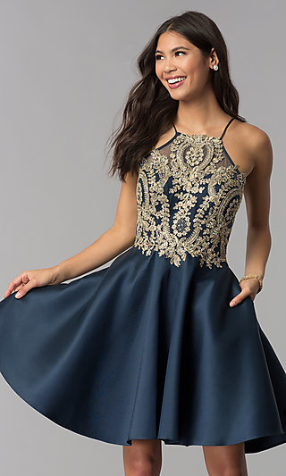 High-Neck Knee-Length Homecoming Dress with Stones