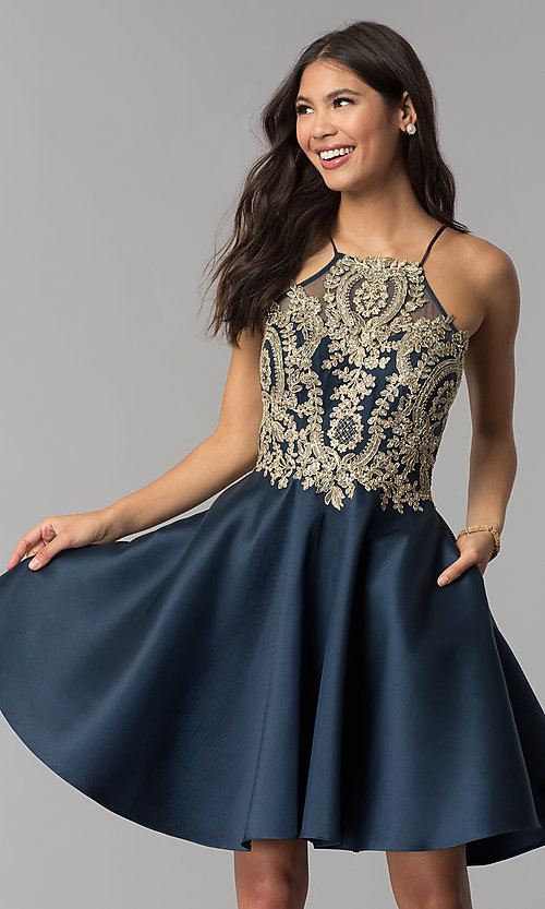 Image of high-neck knee-length homecoming dress with stones. Style: TE-3094 Front Image