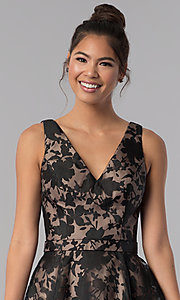 Image of short black a-line floral-print homecoming dress. Style: TE-3011 Detail Image 1